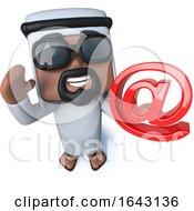 3d Funny Cartoon Arab Sheik Holding An Email Address Symbol