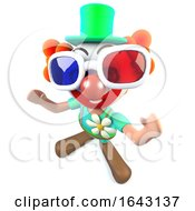 3d Funny Cartoon Clown Character Wearing 3d Glasses