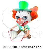 3d Funny Cartoon Clown Character Reading A Book