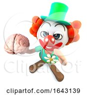 3d Funny Cartoon Crazy Clown Character Holding A Human Brain