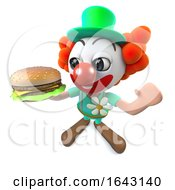 3d Funny Cartoon Clown Character Holding A Cheese Burger