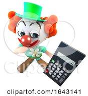 3d Funny Cartoon Clown Character Holding A Digital Calculator