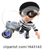 3d Funny Cartoon Burglar Thief Character Stealing A Camera