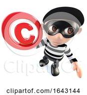 3d Funny Cartoon Burglar Thief Character Holding A Copyright Symbol