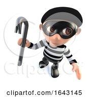 3d Funny Cartoon Burglar Thief Character Holding A Crowbar