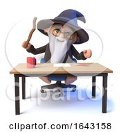3d Funny Wizard Magician Character Sits At A Desk Waving His Magic Wand by Steve Young
