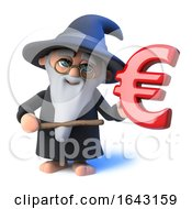 3d Funny Cartoon Wizard Magician Pointing A Magic Wand At Euro Currency Symbol