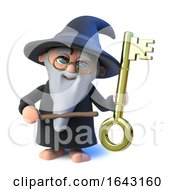 3d Funny Cartoon Wizard Magician Character Points To A Gold Key With His Magic Wand by Steve Young