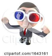 3d Funny Cartoon Executive Businessman Character Watching A 3d Movie