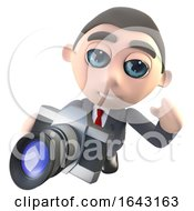 3d Funny Cartoon Executive Businessman Character Taking A Photo With A Camera