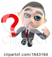 3d Cartoon Businessman Character Holding A Question Mark Symbol by Steve Young