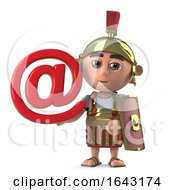 3d Roman Centurion Has An Internet Email Address Symbol