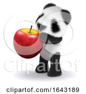 3d Baby Panda Eats An Apple