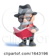 3d Old Man Reading A Book by Steve Young