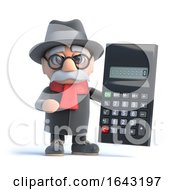 3d Granpa Holding A Calculator by Steve Young