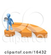 Blue Person Holding A Megaphone And Standing On An Orange Blog Symbol