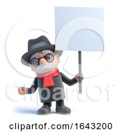 3d Old Man Holding A Placard by Steve Young