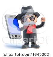 3d Old Man Has A Smartphone by Steve Young