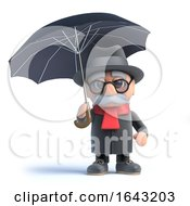 3d Old Man Under An Umbrella by Steve Young