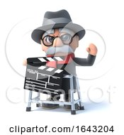 3d Old Man With Walking Frame And Clapperboard by Steve Young