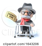 3d Old Man With Walking Frame Has Cinema Ticket by Steve Young