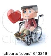 Poster, Art Print Of 3d Boy In Wheelchair Has A Heart