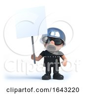 3d Old Biker Holds A Blank Placard by Steve Young