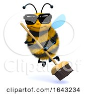 3d Funny Cartoon Honey Bee Character Sweeping Clean With A Broom
