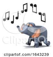 3d Elephant Hears Music by Steve Young