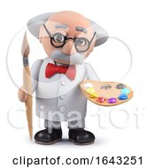 3d Scientist Character Holding A Paintbrush And Palette