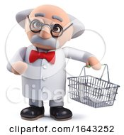 3d Scientist Character Holding A Shopping Basket