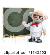 3d Scientist Character Teaching At A Chalkboard