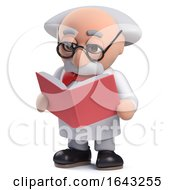 3d Scientist Character Studying A Book