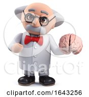 3d Scientist Character Holding A Human Brain by Steve Young
