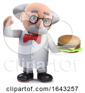 3d Scientist Character Holding A Cheeseburger