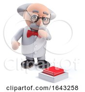 3d Scientist Character Contemplating Pushing A Red Button