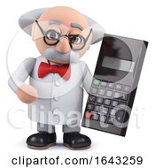3d Scientist Character Holding A Digital Calculator
