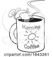 Black And White Woman Dipping Herself In A Cup Of Morning Coffee