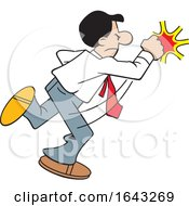 Cartoon Hispanic Business Man Fighting Back