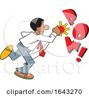Cartoon Black Business Man Fighting Back With POW Text