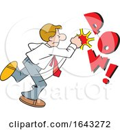 Cartoon White Business Man Fighting Back With POW Text