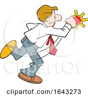 Cartoon White Business Man Fighting Back