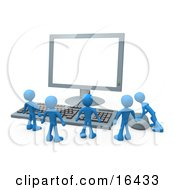 Group Of Tiny Blue Employees Standing In Front Of A Computer Keyboard And Looking Up At A Flat Screen Lcd Monitor Screen While One Person Operates The Mouse