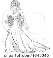Sketched Bride Holding A Boquet