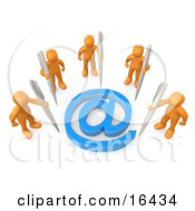 Five Orange People Holding Large Pens Surrounding A Blue At Symbol Clipart Illustration Graphic