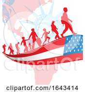 Silhouetted Immigrants On An American Flag Ribbon Over The Statue Of Liberty