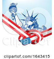 Statue Of Liberty And Knotted American Flag Ribbon