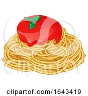 Spaghetti Noodles With Sauce And Basil by Domenico Condello