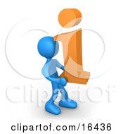 Blue Person Carrying An Orange I For Information Clipart Illustration Graphic by 3poD #COLLC16436-0033