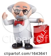 3d Scientist Character Holding A Sale Bag